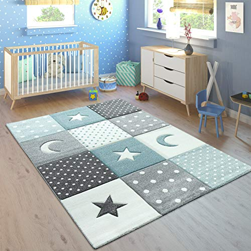 Paco Home Alfombra Infantil Pastel Cuadros Puntos Corazones Estrellas Blanco Gris Azul,...