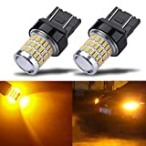 iBrightstar Newest 9-30V Super Bright Low Power 7440 7443 T20 LED Bulbs with Projector replacement for Turn Signal Lights,Amber Yellow