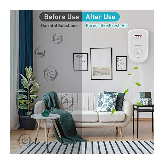 Air purifiers plug in for home, mini odor eliminator丨ozone negative ion dual function丨ionizer to remove smoke pet toilet… 6 🍃2-in-1 pluggable air purifier: cornmi air purifier has a built-in ozone and negative ion generator. Ozone has a strong oxidative decomposition ability, and negative ions can absorb dust. The combination of these two functions can effectively eliminate pet odor, secondhand smoke and kitchen oil fume, allowing you to enjoy natural fresh air at home. 🍃ozone deodorization function: the deodorizer can achieve the purpose of comprehensive and efficient cleaning by short-term releasing low-concentration o₃. O₃ has strong permeability, diffusibility and decomposition ability, which can effectively eliminate harmful substances and smells in the air. 🍃anion purification function: the air ionizer can produce anion, combine with the dust that are positive ions in the air and sink to the ground, avoiding the danger of inhaling floating objects. And achieve the removal of cigarette smoke, oil fumeand other particles matter. Effectivelyrefresh the air and improve the quality of sleep.