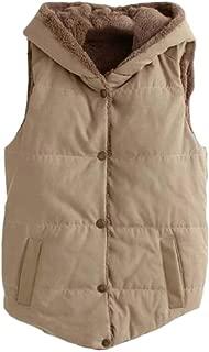 Women's Winter Padded Vest Fleece Lined Hooded Outwear Jacket Vest