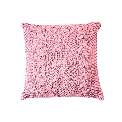 Ancoree Tejido Rosa Fundas de Almohada- Pillowcase para Sofá Cama Coche-Hecho a Mano Cubierta de Almohada Cálida Decorativa & Cubierta de Cojín para Decoración Hogar,45X45CM (Rosa B)