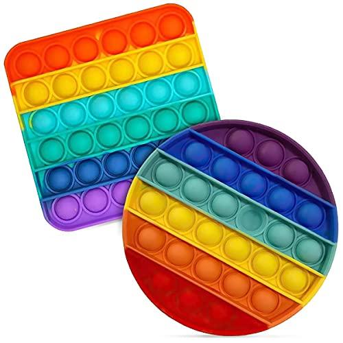 TIANLE Push Pop Bubble Sensory Fidget Toy, Pulseras Pop Pop Bubble Sensory Fidget Juguete Último Uno Perdido Estrés Autismo Autismo Anti-Ansiedad Juguetes Rainbow Colores