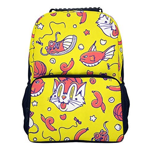 BTJC88 Middle School Students Small Backpack Animal, cat Stylish Retro Lightweight Purse - Animal Design Printed for Camping Cycling Travel