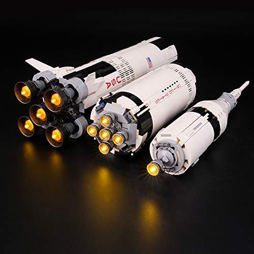 BRIKSMAX Kit de LED pour Lego NASA Apollo Saturn V, Compatible avec la Maquette Lego 21309, La Maquette de Construction n'est Pas Incluse