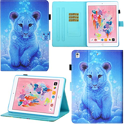 DodoBuy Case for iPad 10.2'/iPad Pro 10.5/iPad Air 10.5, Magnetic Flip Folio Smart Cover PU Leather Wallet Bag Stand with Card Slots - Lion
