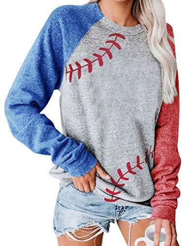 Dresswel Damen Baseball Mom Sweatshirt Langarmshirt Rundhals Raglan Ärmel Pullover Bluse Oberteile Shirts