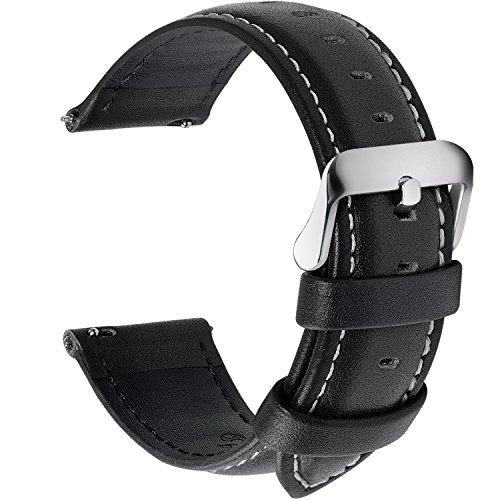 Fullmosa 12 Colori per Cinturini di Ricambio, Axus Pelle Cinturino/Cinturini/Braccialetto/Band/Strap di Ricambio/Sostituzione per Watch/Orologio 14/16/18/19/20/22/24mm, Nero 18mm