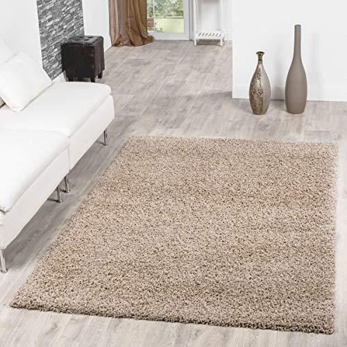 T&T Design Shaggy Teppich Hochflor Langflor Teppiche Wohnzimmer Preishammer versch. Farben, Größe:70x140 cm, Farbe:beige