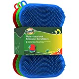 Silicone Scrubbing Pad Sponges by SCRUBIT - Real Silicon Non Scratch Kitchen Scrubber - Non Smell Cleaning Sponges for Kitchen Dishes - Reusable Soft Dish Sponge - Blue Red Green Pads (3 Pack)