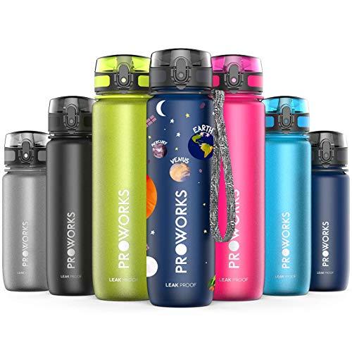 Proworks Botella de Agua a Prueba de Fugas | Botella Deportiva Ideal para Correr, Ciclismo, Senderismo y Más | Botella de Plástico Tritan sin BPA – 0,5 litros (18oz) - Planetas