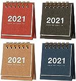 4PCS 2021 Mini Desk Calendar, Stand Up Table Calendars, Flip Calendar Memo Pad Yearly Agenda Organizer Schedule Planner for School, Home, Office(2020.8-2021.12), 2.76 x 2.48in