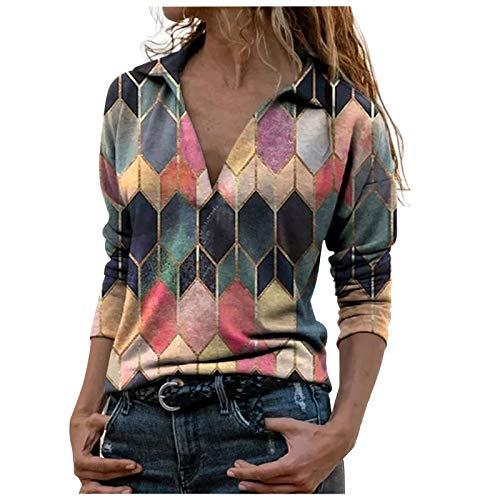 VEMOW Camisas Mujer Nuevo Blusas para Mujer Sexy Tops Camisetas Camisa de Entrenamiento Cremallera Manga Larga, Elegantes Estampado Suelta Sudadera Tapas Geométrico Cuello en V Ropa(H Multicolor,S)