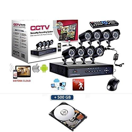 VM-STORE Kit Security Videosorveglianza 8 Telecamere a infrarossi h264 CCTV Con DVR 8 CANALI 8 Alimentatori 8 Prolunghe + HARD DISK 500 GB