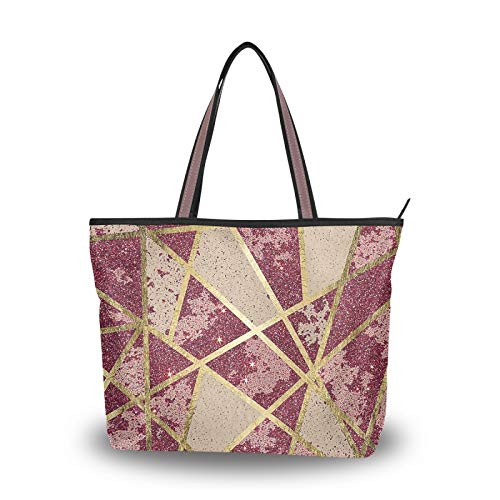 NaiiaN para madres, mujeres, niñas, señoras, estudiantes, bolso de mano, bolsos, correa ligera, rústico, elegante, con purpurina, triángulos dorados, monedero, bolsos de hombro para compras