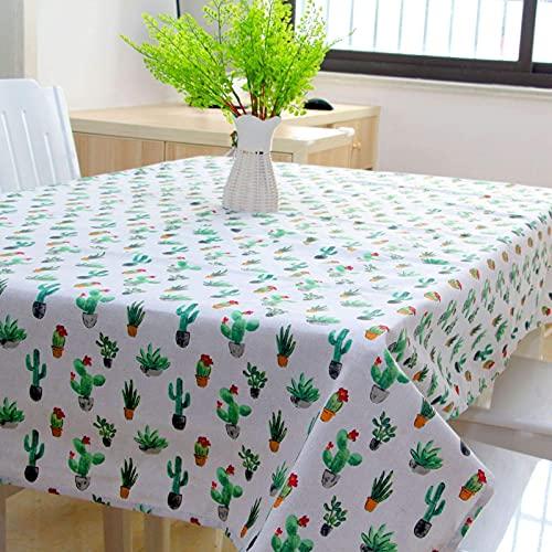 XHNXHN Mantel de Mesa de Comedor de Sala de Estar Mantel de Lino de algodón Mantel de Comedor Rectangular para el hogar Mantel de Fiesta Mantel de plástico Verde Toallita Limpiar Mantel Verde 140 *