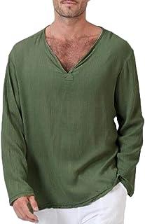 TEBAISE Mens Summer T-Shirt Cotton Linen Thai Hippie Shirt V-Neck Beach Yoga Top Blouse