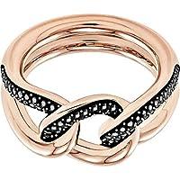 Swarovski Lane 18K Rose Gold-Plated Black Pave Crystal Women's Ring