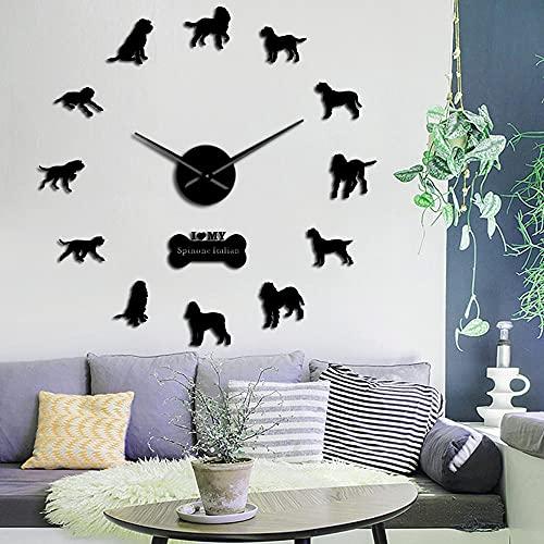 Reloj de Pared de acrílico, Puntero de Perro Animal Italiano, Reloj de Pared Grande DIY, Espejo acrílico para Perro, Superficie muda, Reloj de Movimiento, decoración del hogar-47 Pulgadas