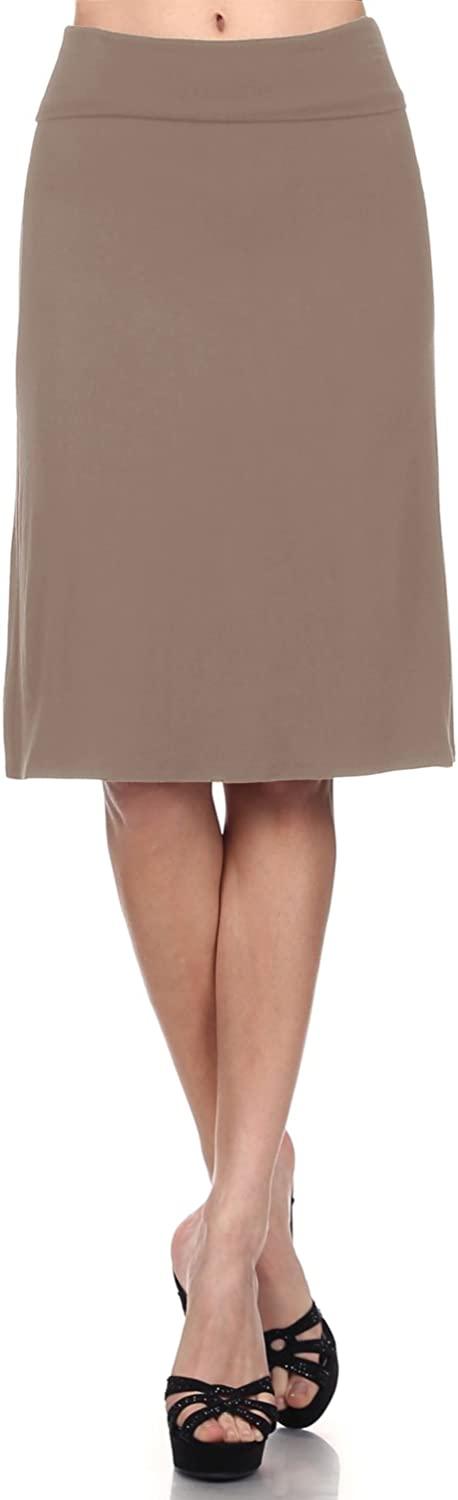 Womens Lightweight Casual Flared Midi Skater Skirt with Stretch