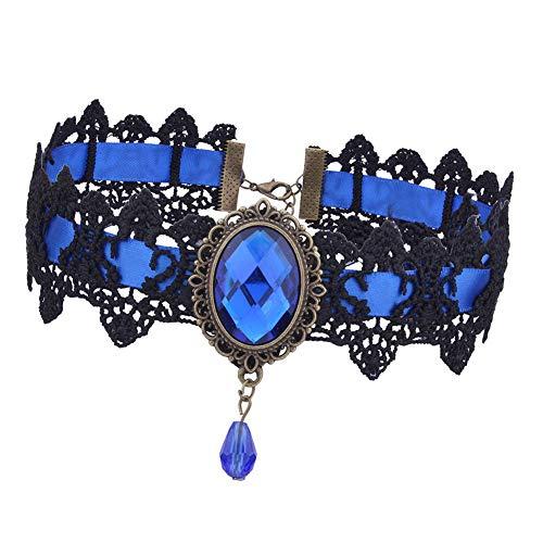 Azul Rojo gótico del cordón de Bohemia del Tatuaje Gargantilla Mujeres Negro Vintage Collares cristalinos de Punk gótico joyería Collar Gargantilla