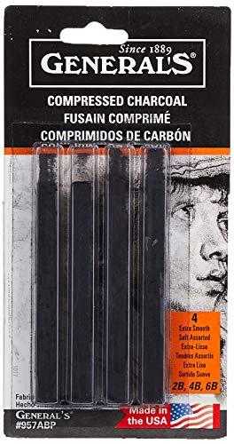 General Pencil 957ABP Compressed Charcoal Sticks 4/Pkg-Black