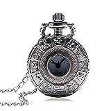 J-Love Kleine Größe Silber Zodiac Hollow Hunter Quarz Taschenuhr mit Pullover Halskette Kette Exquisite Anhänger Uhr Geschenke für Frauen