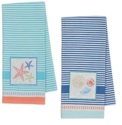 Seashells Sea Stars Starfish Beach Kitchen Towels, Set of 2 Flat Woven Tea Towels for Beach Kitchen Decor, Coastal Kitchen Hand Towels, Baking, Cooking, Beach Home Towels