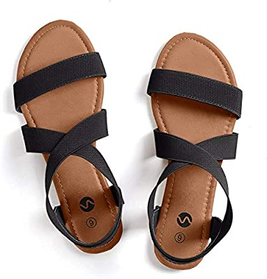 Rekayla Flat Elastic Sandals for Women Black 08