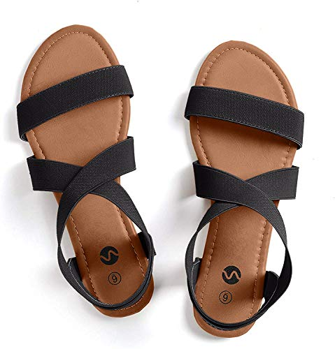 Rekayla Flat Elastic Sandals for Women Black 09