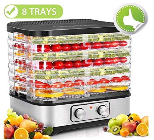 8 Trays Electric Food Dehydrator Machine, Fruit Dryer Timer & Temperature Settings for Jerky, Beef,...