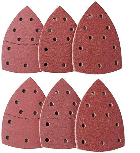Fogli abrasivi ECHG da 60 pezzi, tappetini per levigatrice per mouse compatibili con Bosch Multi-Sander PSM 100A, PSM 200 AES, PSM 18 e multiutensile oscillante - 40/60/80/120/180/240 grane