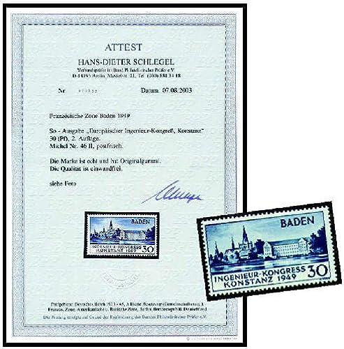 Goldhahn Frz. Zone Baden Nr. 46 II Konstanz  mit Fotoattest - Briefmarken für...