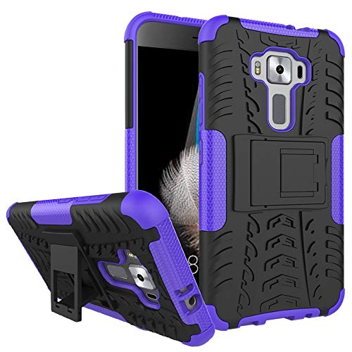 QiuKui For ASUS ZenFone 3 Lite, híbrido Heavy Duty Armadura de plástico Duro de la Cubierta del Soporte for ASUS ZenFone 3 Lite ZE520KL Z017D Z017DA Z017DB ZE ZE520 520 520KL KL (Color : Purple)