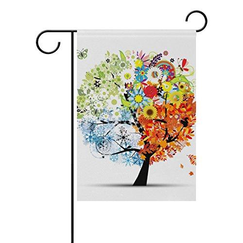 Bennigiry quatre saisons Arbre Tissu Polyester Drapeau de jardin, résistant aux intempéries drapeaux pour Année d'affichage extérieur double face Bienvenue Flag- 30,5 x 45,7 cm 12x18(in) multicolore