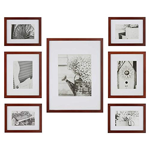 Gallery Perfect Photo Kit with Decorative Art Prints & Hanging Template Gallery Wall Frame Set, 7 Piece, Walnut, 7 Piece