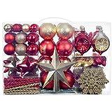 YILEEY Adornos de Navidad Decoracion 136 Piezas Rojas y Doradas, Arboles de Navidad Bolas de Plastico, en 23 Tipos, Caja de Bolas de Navidad de Plástico Inastillable con Percha, Adornos Decorativos