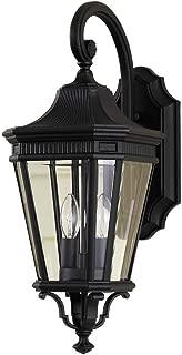 Feiss OL5401BK Cotswold Lane Outdoor Patio Lighting Wall Lantern, Black, 2-Light (9