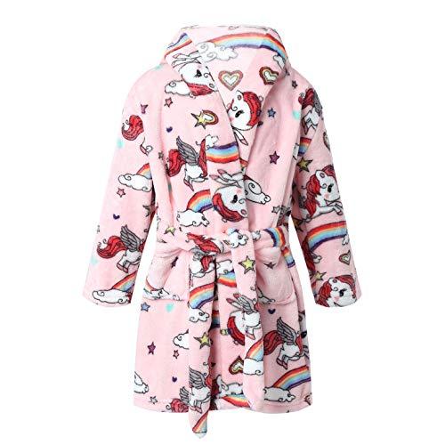 inlzdz Albornoz Niñas con Capucha Batas de Baño para Casa Suave con Diseño Unicornio Regalos Originales para Niñas y Adolescentes Edad 3-14 Años Rosa 9-10 años