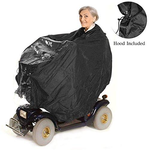 Poncho Impermeable para Silla de Ruedas – Funda Protectora Impermeable, Ligera con Capucha – Accesorio Cobertor de Invierno con Cremallera – Protección para Conductor y Patinete