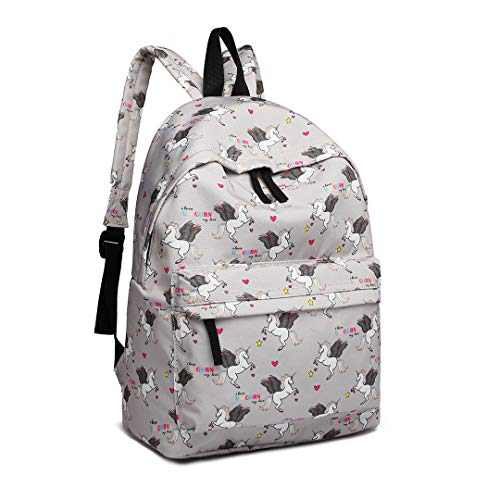 Kono Children's Backpacks Unicorn School Bag Canvas Rucksack for Girls and Boys Fashion Printed Bookbag for Students Teenagers Casual Daypack (Grey)
