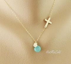 Personalized Monogram Sideways Cross Necklace, Initial Heart Charm Necklace, Birthstone Jewelry, Blessed Necklace, Mother Necklace