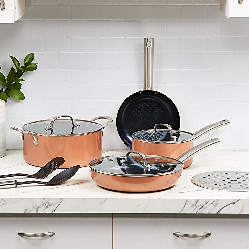 Copper Chef Black Diamond 10-Piece Non-Stick Induction Cookware Set, Stackable, Pots and Pans