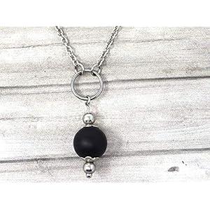 Chokerhalskette für Frauen aus Edelstahl mit Ringen und schwarz gefrosteten Achatperlen
