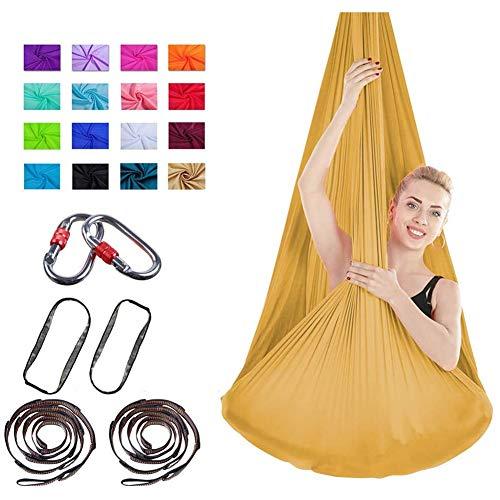 XiuLi Aerial Yoga Hammock 4 * 2.8M- Tejido de Yoga aéreo de Seda de Primera Calidad para inversión de antigravedad Yoga Incluye Cadena de Margaritas, mosquetón y guía de Postura