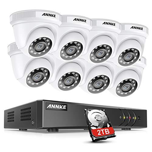 ANNKE Kit de Seguridad 8 Canales DVR de 5MP Lite H.265+ con 2TB Disco Duro de Vigilancia + CCTV 1080P 8 Cámaras Sistema de Vigilancia IP66 Impermeable Visión Nocturna -2TB HDD