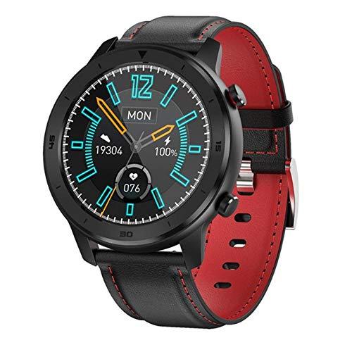 Reloj inteligente, reloj inteligente para hombres y mujeres, pulsera, rastreador de actividad física, monitor de frecuencia cardíaca a prueba de agua para dispositivos portátiles-Black_Red_Leather
