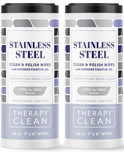 Therapy Stainless Steel Wipes, 30 Count (2 Pack) - Best for Cleaner and Polish of Kitchen Appliances, Refrigerator, Dishwasher, Oven, Stove, Sink, and Microwave