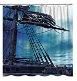 Fuortia Piraten Duschvorhang Fantasy Ocean Vintage Piratenschiff Totenkopf Flagge Badezimmer Vorhang-Sets Fluch der Karibik Stoff Duschvorhang mit Haken Abenteuer Badezimmer Dekoration 177 x 178 cm