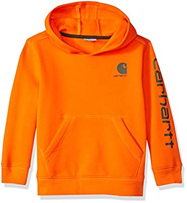 Carhartt Boys' Little Long Sleeve Sweatshirt, Dark Orange, 4