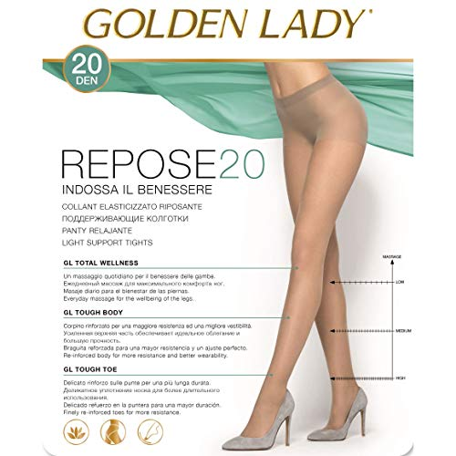 GOLDEN LADY Repose Set 10 GOLDEN LADY Repose Strumpfhose 20 DEN rauchgrau Größe XL 36F